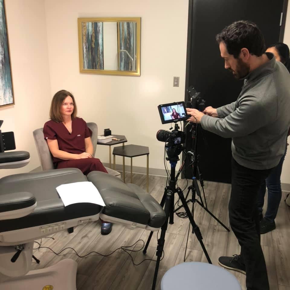 physician getting filmed
